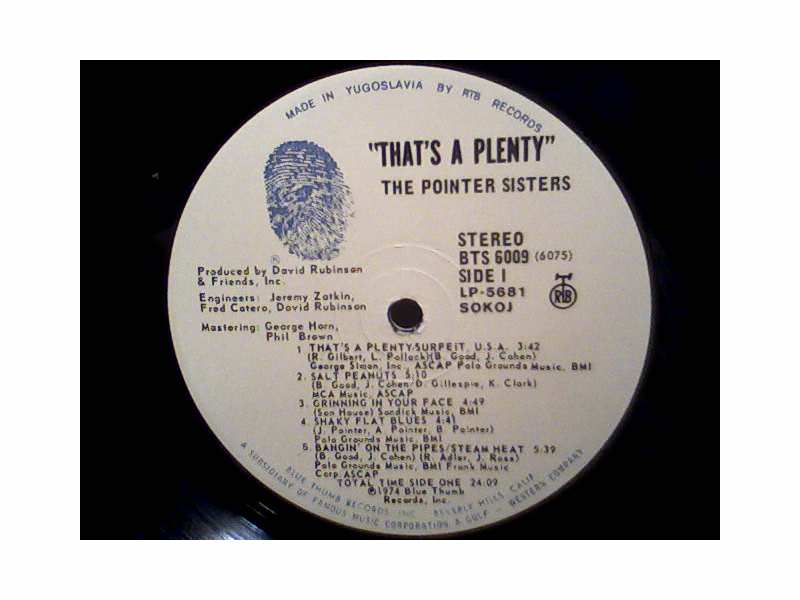 Pointer Sisters - That`s A Plenty - LP