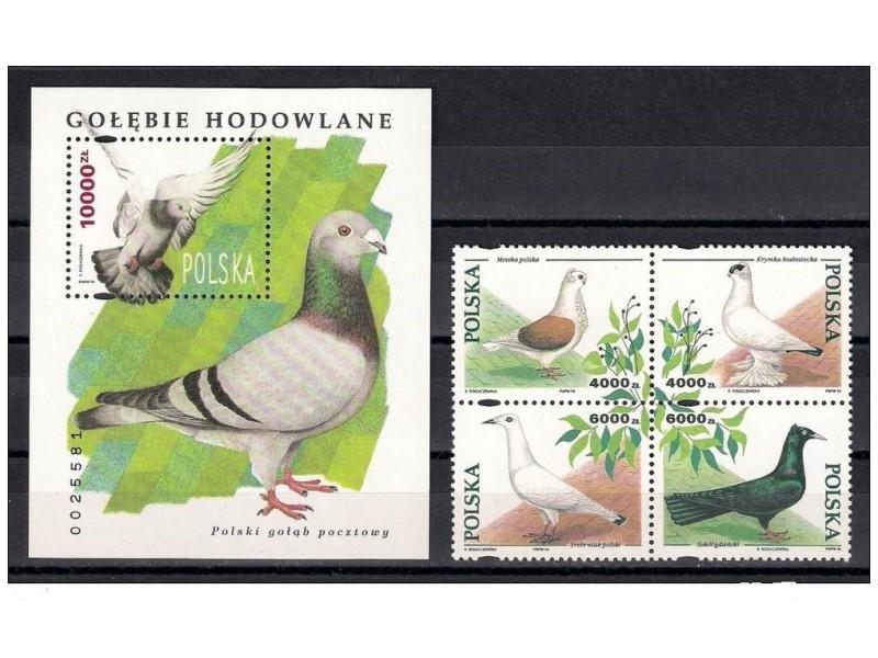 Poljska 1994. Ptice,cista serija i blok