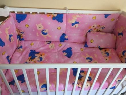 Posteljina+ ogradica za krevetac 5u1,Roze