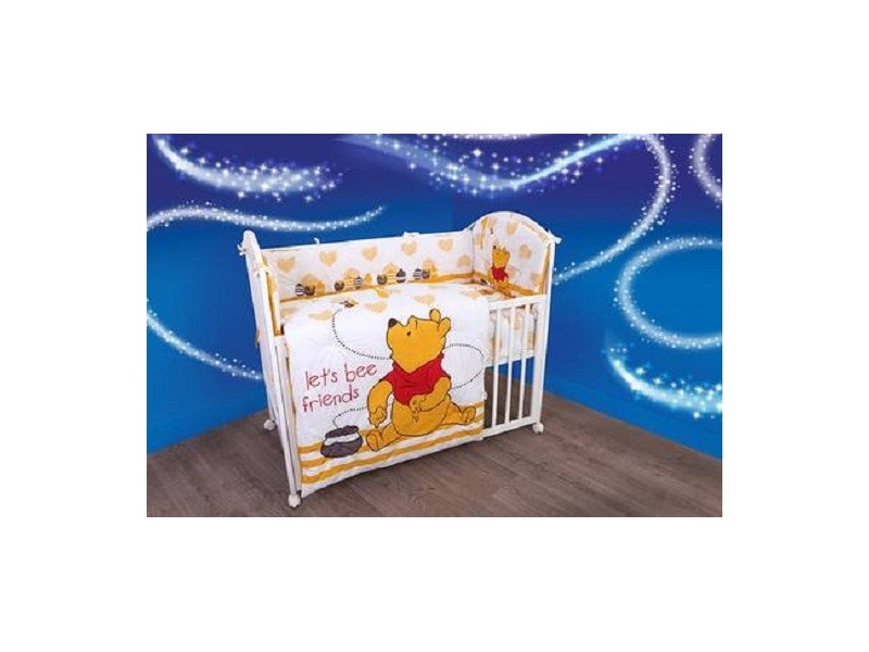 Posteljina sa ogradicom `Winnie the pooh`(4 dela)