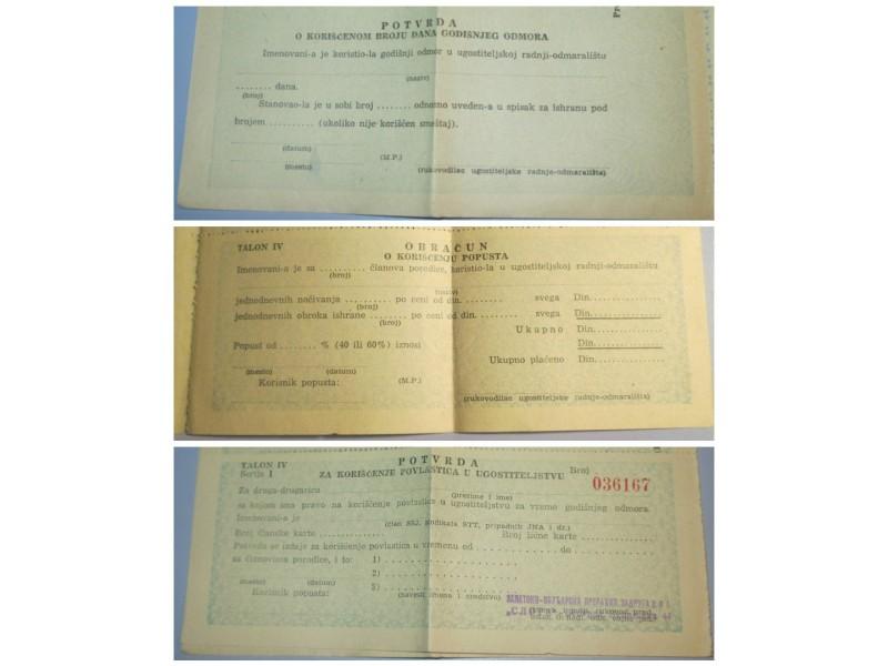 Potvrda za korišćenje povlastica u ugostiteljstvu FNRJ