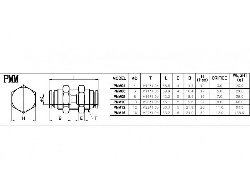 Pregradna brza spojnica za vazduh 6mm - PMM06