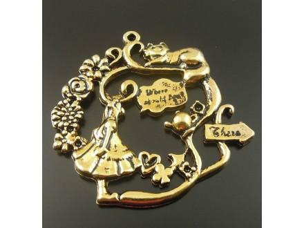 Privezak boje starog zlata Alisa u zemlji čuda 43mm