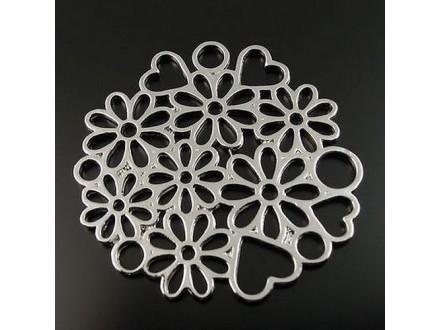 Privezak konektor tibet. srebro 42x40mm cveće srca