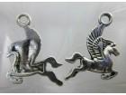 Privezak tibetansko srebro konj Pegaz mitologija 23mm