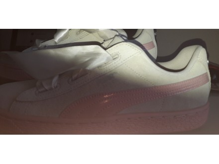 Puma Suede Heart Ps Trainers Whisper White Peach  Beige