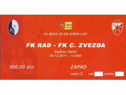 Rad - Crvena Zvezda   ,   2011.god.