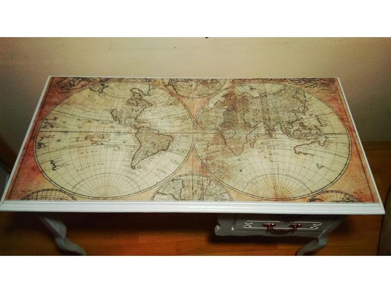 Radni sto, retro, staklo karta sveta,NOVO,bg/ns