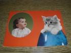 Razglednica  - Beba sa macom - putovala
