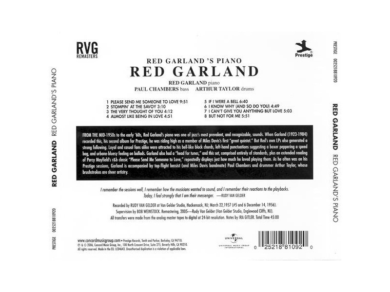 Red Garland – Red Garland`s Piano (CD)