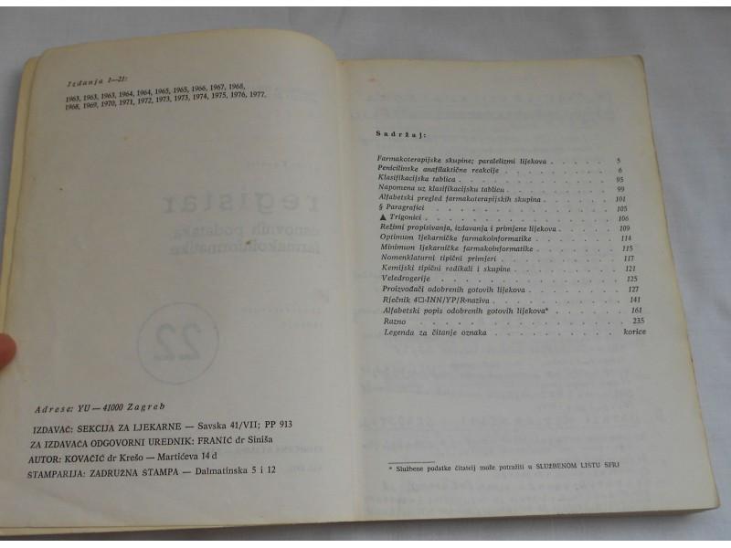 Registar osnovnih podataka farmakoinformatike - 1978