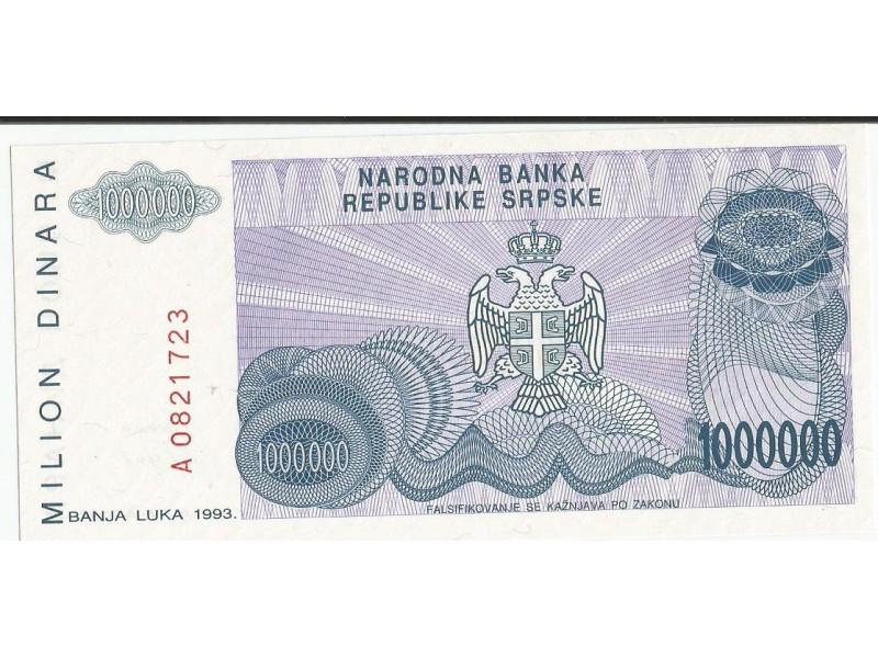 Republika Srpska 1.000.000 dinara 1993. UNC