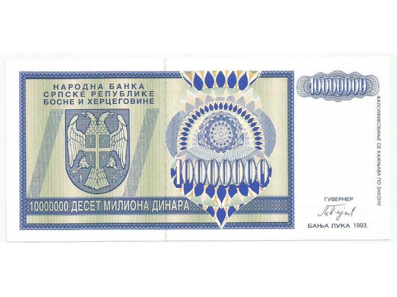 Republika Srpska 10.000.000 dinara 1993. UNC