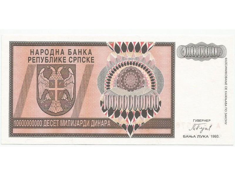 Republika Srpska 10 milijardi dinara 1993. UNC