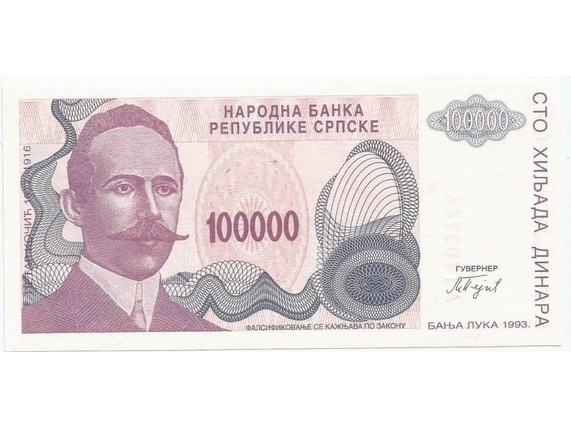 Republika Srpska 100.000 dinara 1993. UNC