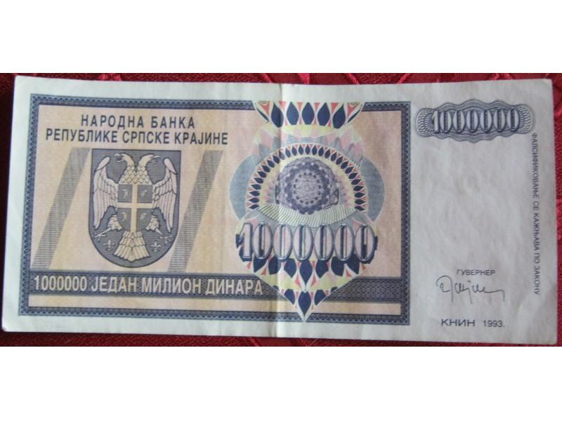 Republika Srpska Krajina, 1 milion, 1993.