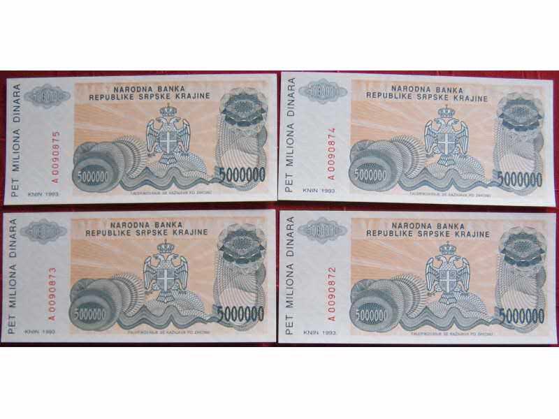 Republika Srpska Krajina, 5 miliona, 1993. UNC