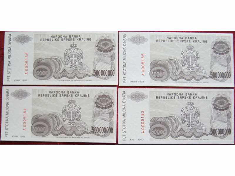 Republika Srpska Krajina, 500 miliona, 1993. UNC