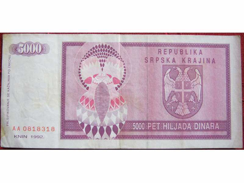 Republika Srpska Krajina, Knin, 5000 dinara, 1992.