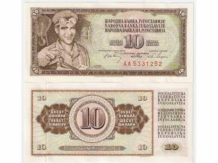 SFRJ 10 DINARA 1968. UNC AA SERIJA ST-100
