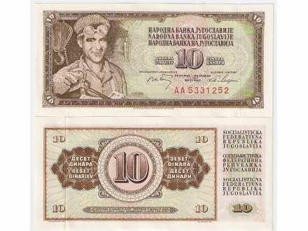 SFRJ 10 dinara 1968. UNC AA serija