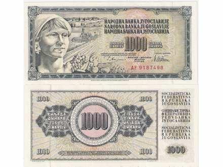 SFRJ 1000 DINARA 1978. AF SERIJA BEZ GRESKE