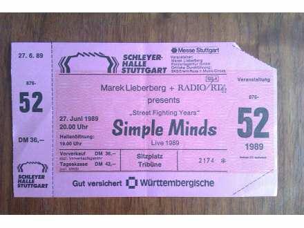 SIMPLE MINDS - ULAZNICA ZA KONCERT IZ 1989 GODINE