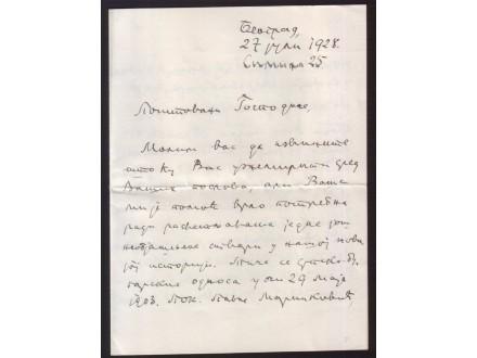 SLOBODAN JOVANOVIC, RUKOM NAPISANO PISMO 1928