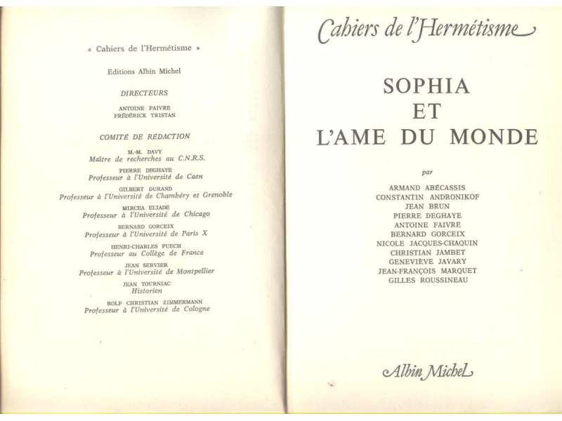 SOPHIA ET L`AME DU MONDE (CAHIERS DE L`HERMETISME