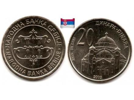 SRBIJA 20 Dinara 2003 BU/UNC