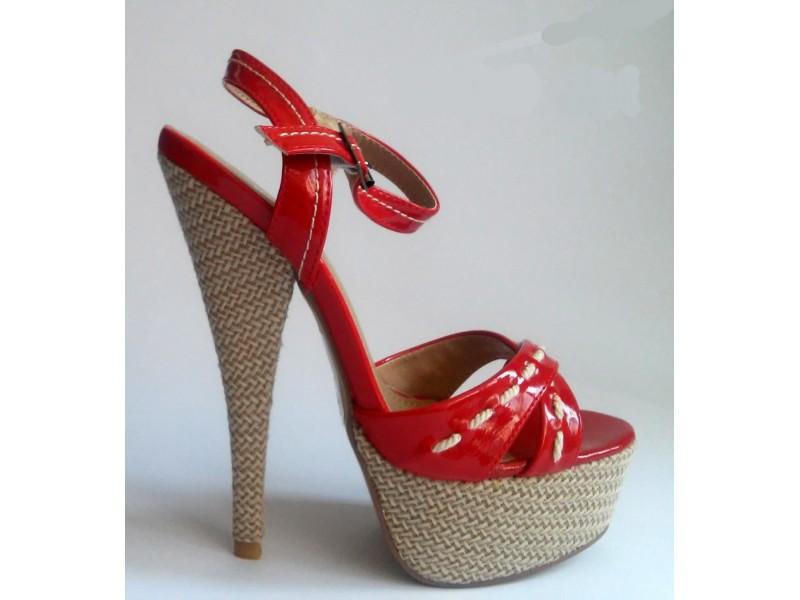 Sandale 19 NOVO - crna, crvena i narandzasta