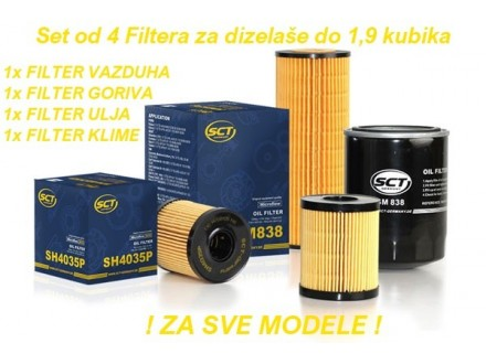 Set od 4 Filtera za dizelaše do 1,9 kubika