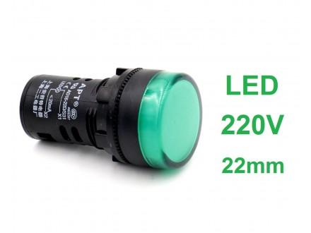 Signalna LED sijalica - 220V - Zelena - 22mm