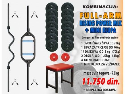 Šipke za bicepse i triceps + mini klupa + tegovi 73kg