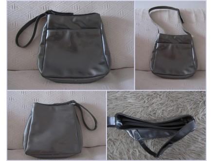 Siva, lakovana torba