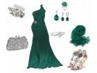 Smaragdno zelena haljina na jedno rame M/38