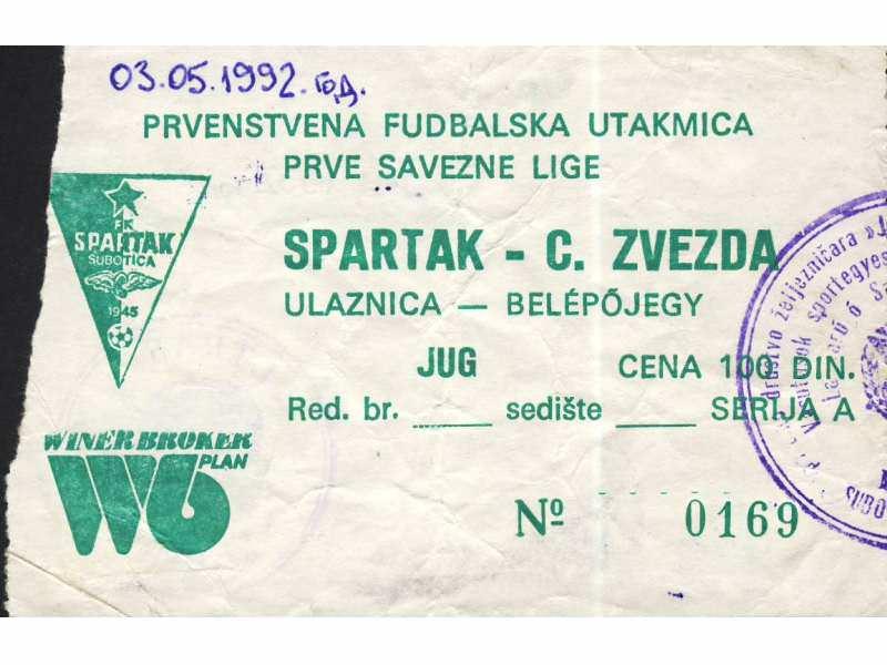 Spartak - Crvena Zvezda   ,   1992.god.