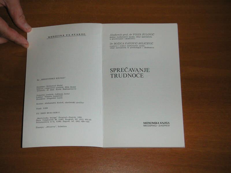 Sprečavanje trudnoće kontracepcija - Šulović - 68 str.