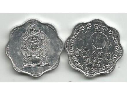 Sri Lanka 10 cents 1988.