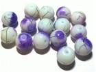 Staklene Perle Ljubicasto bele 10mm 1KOM