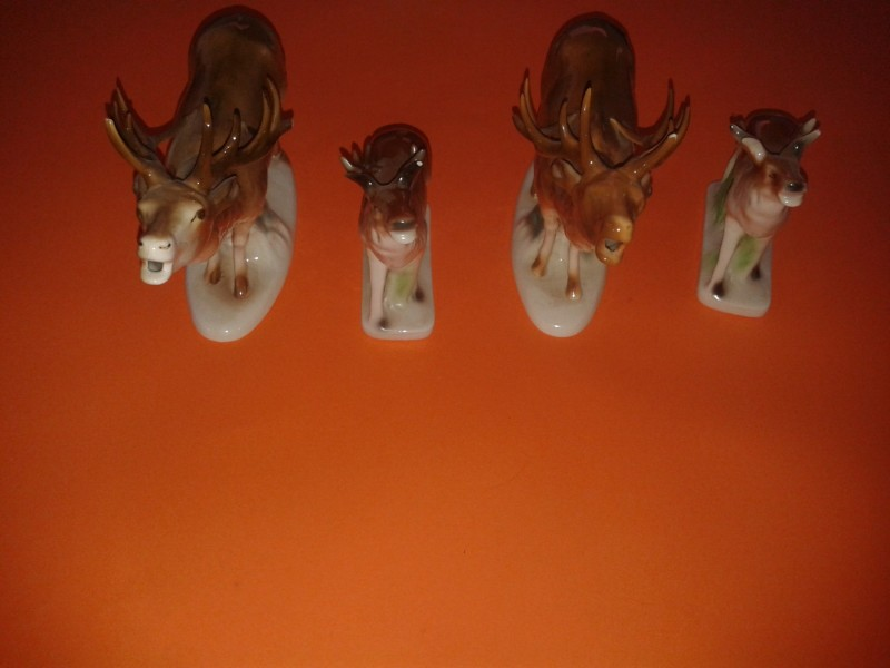 Stare porcelanske figure divljac jelen - 4 komada
