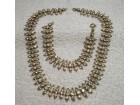 Starinska ogrlica i narukvica, mesing i kristali
