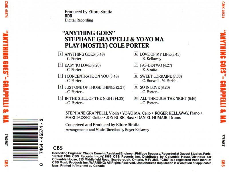 Stephane Grappelli & Yo Yo Ma - Stephane Grappelli & Yo Yo Ma - Anything Goes