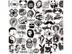 Stikeri za automobile 60 kom ,crno bele boje