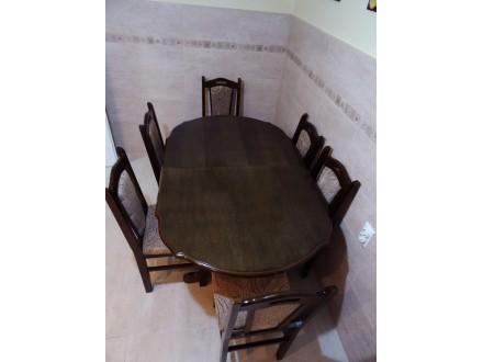 Stol + stolice (6 kom.) NOVO