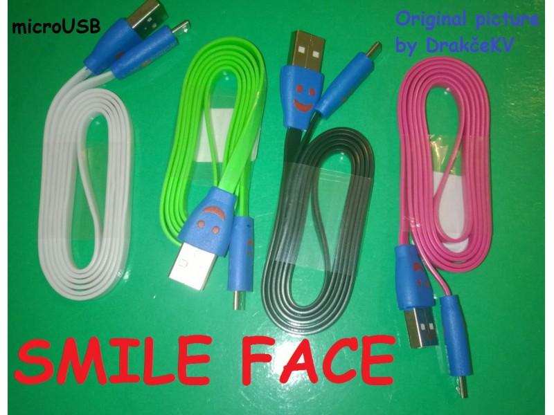 Svetleći Smile Face microUSB Data kabl 1m
