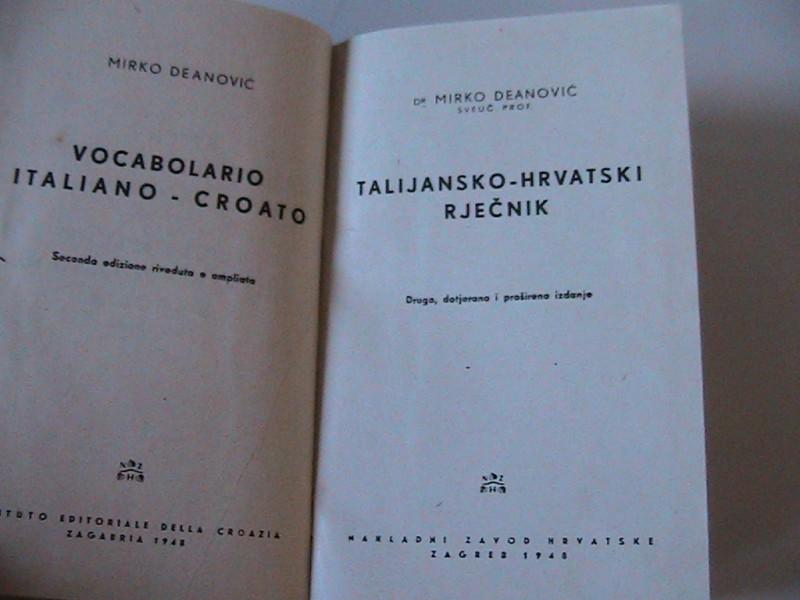 Talijansko-hrvatski rječnik,  Deanović