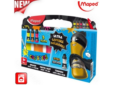 Tempere Maped Color Peps 5x75ml Fluo boy 810012