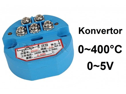 Termo konvertor - PT100 - 0-5V - 24V - 0~400°C