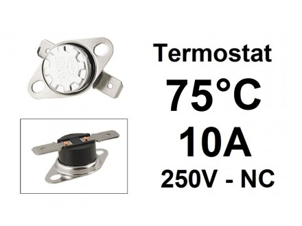 Termostat - 75°C - 10A - 250V - NC